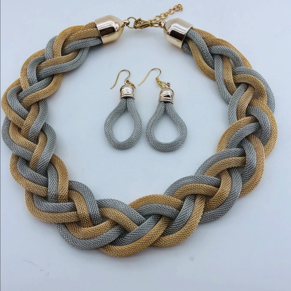 Jewelry - Braided Mesh Silver/Gold Necklace and Earring Set